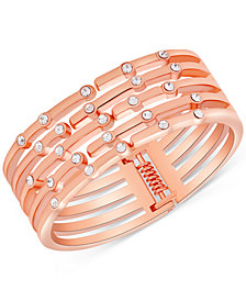 GUESS Rose Gold-Tone Crystal Hinged Cuff Bracelet