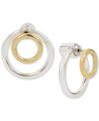 Touch of SilverHint of Gold Front Back Circle Earrings in Silver
