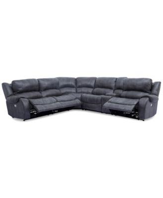 Rinworth 6-Pc. Leather Sectional with 3 Power Recliners with Console Articulating Headrests  sc 1 st  Macyu0027s : black reclining sectional - islam-shia.org