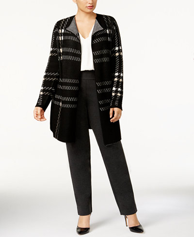 Charter Club Plus Size Plaid Open-Front Duster Cardigan, Created ...