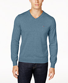 Tommy Hilfiger Men's Signature Solid V-Neck Sweater, Created for Macy's