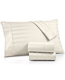 AQ Textiles Bergen Stripe 4-Pc. Queen Sheet Set, 1000 Thread Count 100% Certified Egyptian Cotton