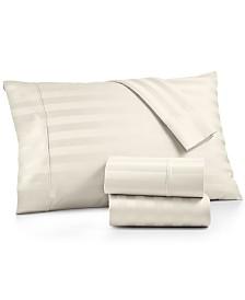 AQ Textiles Bergen Stripe 4-Pc. Queen Sheet Set, 1000 Thread Count 100% Certified Egyptian Cotton
