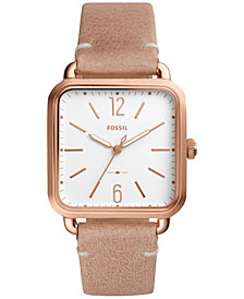 Fossil Women's Micah Beige Leather Strap Watch 32x32mm