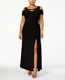Plus Size Cold-Shoulder Keyhole Gown