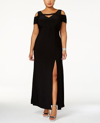 nightway plus size cold-shoulder keyhole gown - dresses - women