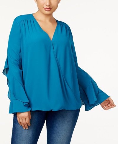 Anna Sui Loves I.N.C. Plus Size Ruffled-Sleeve Blouse, Created for Macy's