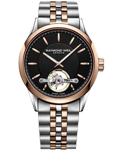 RAYMOND WEIL Men's Swiss Automatic Freelancer Two-Tone Stainless Steel Bracelet Watch 42mm