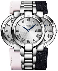 RAYMOND WEIL Women's Swiss Shine Stainless Steel Bracelet Watch 32mm with Interchangeable Repetto Leather Strap Set