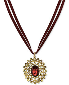 2028 Gold-Tone Burgundy Stone & Faux Suede Pendant Necklace, Created for Macy's