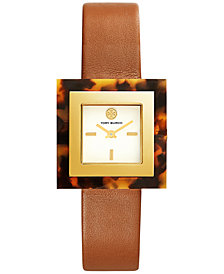 Tory Burch Women's Sedgewick Luggage Leather Strap Watch 33x33mm