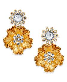 kate spade new york 14k Gold-Plated Crystal Cluster Poppy Drop Earrings