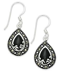 Onyx (1-9/10 ct. t.w.) & Marcasite Drop Earrings in Fine Silver-Plate