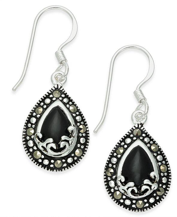 Macy's Onyx (1-9/10 ct. t.w.) & Marcasite Drop Earrings in Fine Silver-Plate