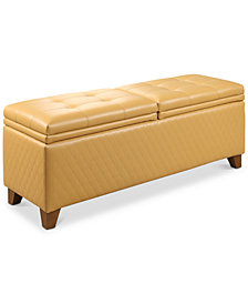 Mason Quilted Storage Ottoman, Quick Ship