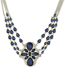 2028 Silver-Tone Multi-Chain Stone Statement Necklace