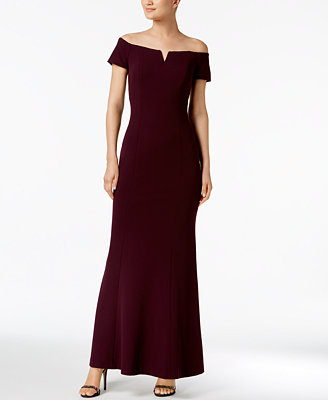 Notched Off The Shoulder Gown by Calvin Klein