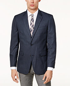 Tommy Hilfiger Men's Slim-Fit Brown & Blue Mini-Check Sport Coat