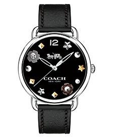 Women's Delancey Black Leather Strap Watch 36mm