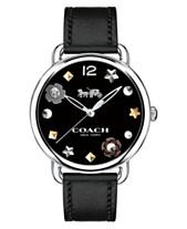 694e3d6cbe87 COACH Women's Delancey Black Leather Strap Watch 36mm