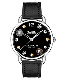 COACH Women's Delancey Black Leather Strap Watch 36mm