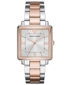 Emporio Armani Women's Modern Square Two-Tone Stainless Steel Bracelet Watch 30x30mm