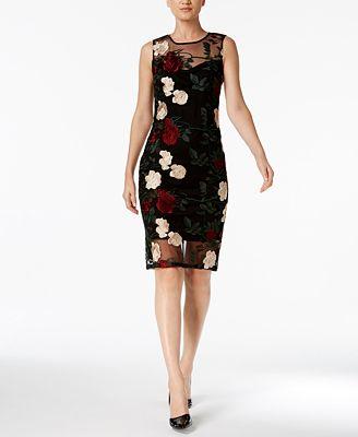 Calvin Klein Petite Embroidered Illusion Sheath Dress