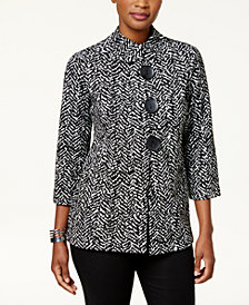 JM Collection Petite Three-Button Asymmetrical Jacket, Created for Macy's