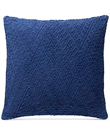 "Lucky Brand Diamond Matelasse 18"" Square Decorative Pillow, Created for Macy's"