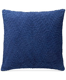 "CLOSEOUT! Lucky Brand 18"" x 18"" Diamond Matelasse Decorative Pillow"