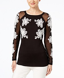 INC Embroidered Illusion Top, Created for Macy's