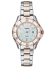 Women's Solar Dress Sport Diamond-Accent Two-Tone Stainless Steel Bracelet Watch 33mm