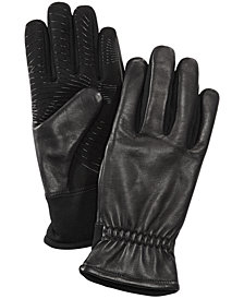 FOWNES Men's Gathered-Wrist Leather Gloves