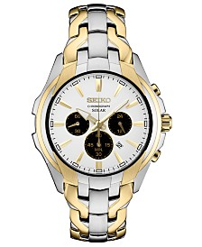Seiko Men's Solar Chronograph Two-Tone Stainless Steel Bracelet Watch 43mm