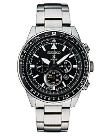 Seiko Men's Solar Chronograph Prospex Stainless Steel Bracelet Watch 45mm