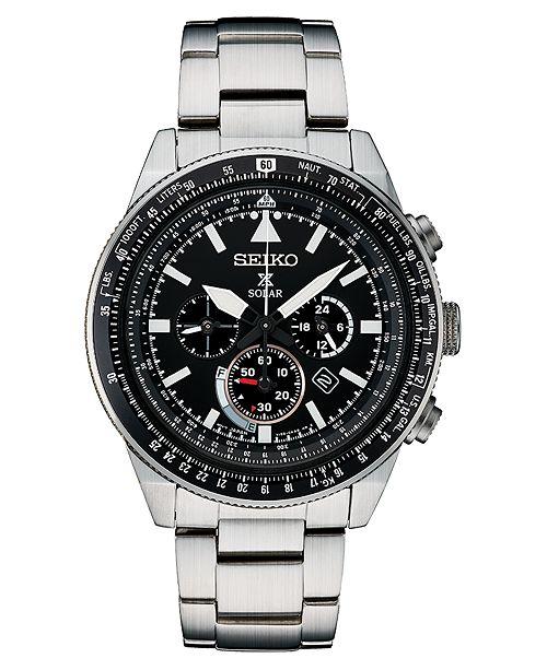 Seiko Men's Solar Chronograph Prospex Stainless Steel Bracelet Watch 45mm