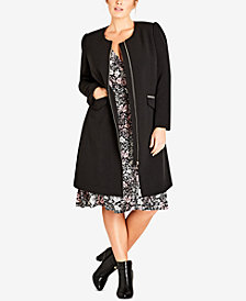 City Chic Trendy Plus Size Simple Elegance Collarless Coat