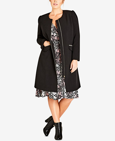City Chic Trendy Plus Size Simple Elegance Collarless Coat