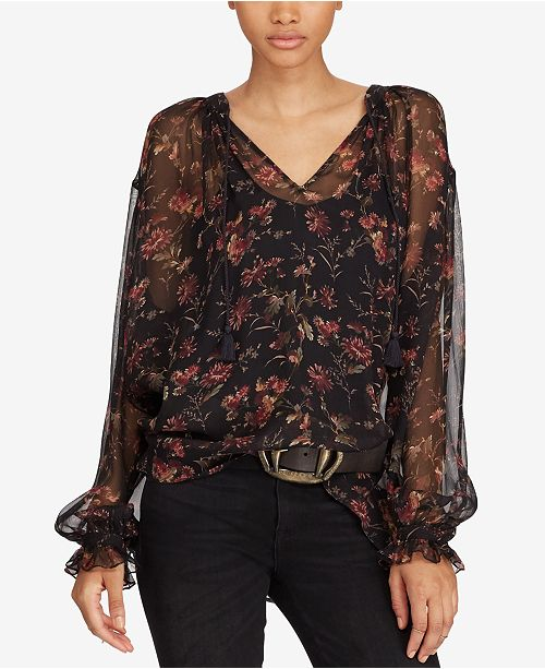 f98736d4e Polo Ralph Lauren Floral-Print Silk Blouse & Reviews - Tops - Women ...