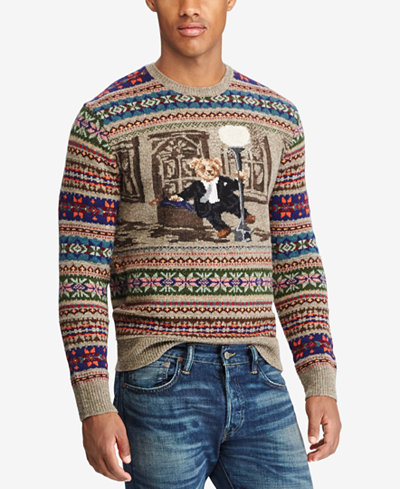 Polo Ralph Lauren Men's Iconic Bear Isle Sweater - Hats, Gloves ...