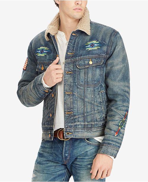 3c07752ba9e Polo Ralph Lauren Men s Fleece-Lined Denim Jacket   Reviews - Coats ...