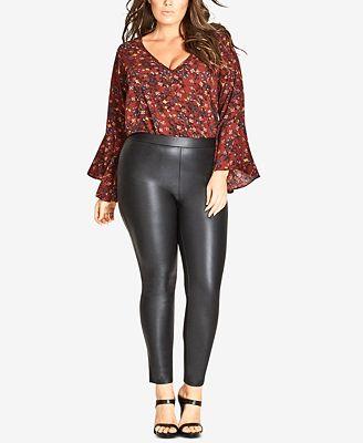 city chic trendy plus size faux-leather leggings - pants - plus