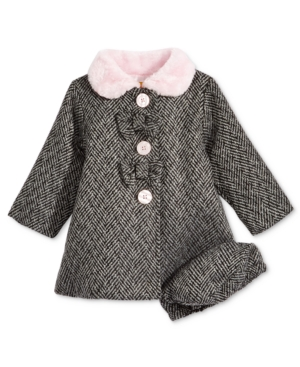Penelope Mack Herringbone Coat with FauxFur Trim  Hat Baby Girls (024 months)