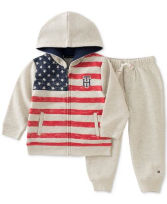 tommy hilfiger 2pc zipup hoodie u0026 jogger pants set baby