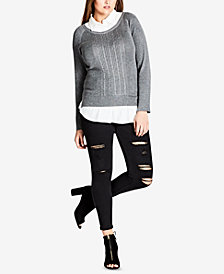 City Chic Trendy Plus Size Layered-Look Sweater