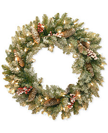 "National Tree Company 30"" Dunhill Fir Wreath With Snow, Red Berries, Pine Cones & 50 Clear Lights"