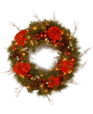 National Tree Company 24 Hydrangea Wreath With Pine Cones Berries  50 BatteryOperated Led Lights