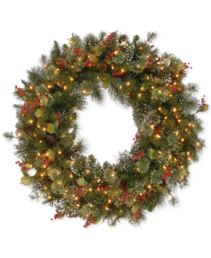 National Tree Company 36 Wintry Pine Wreath with 150 Clear Lights