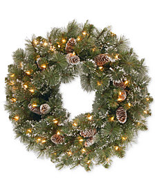 """National Tree Company 24"""" Glittery Pine Wreath With Snow-Tipped Pine Cones & 50 Clear Lights"""