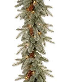 9' Feel Real® Frosted Arctic Spruce Garland With Pine Cones & 50 Clear Lights